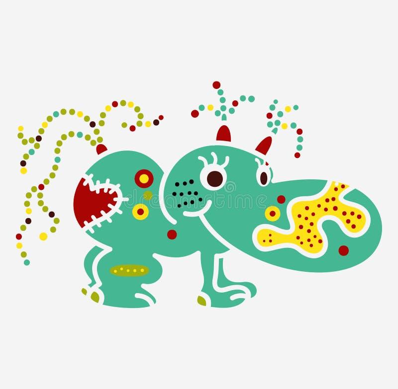 Monster creature essence bacteria virus UFO alien small hippo stock illustration