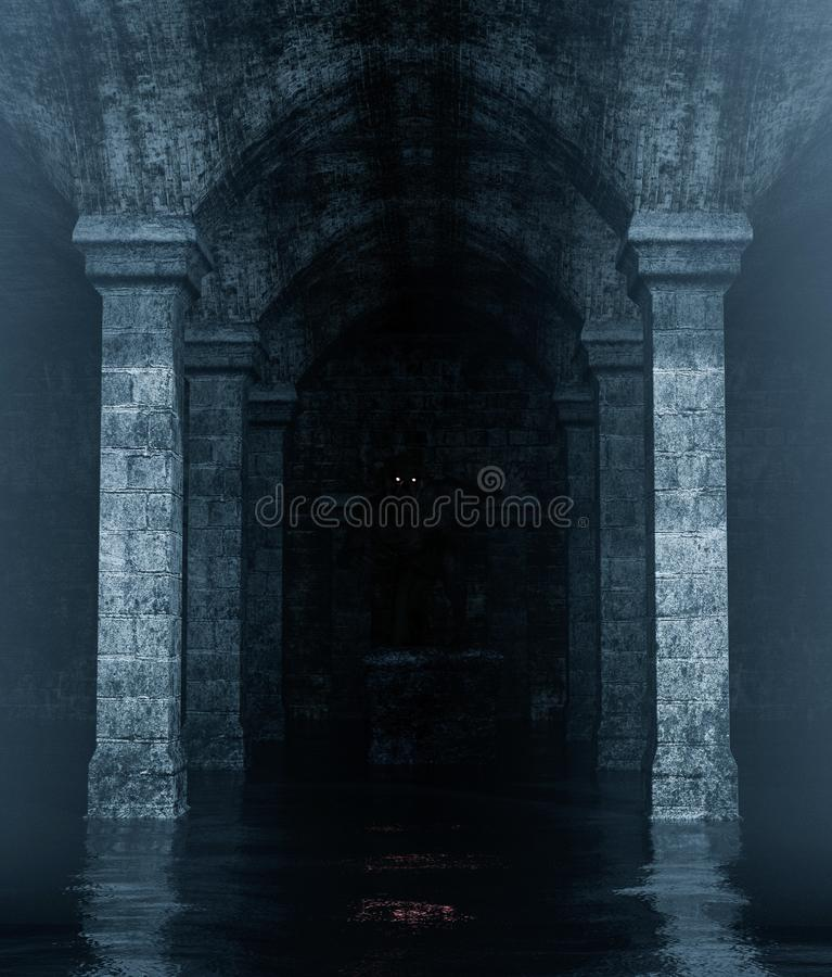 Monster creature hiding in an old crypt. That full of water,3d rendering**night scene contain some noise on skin of main subject royalty free illustration