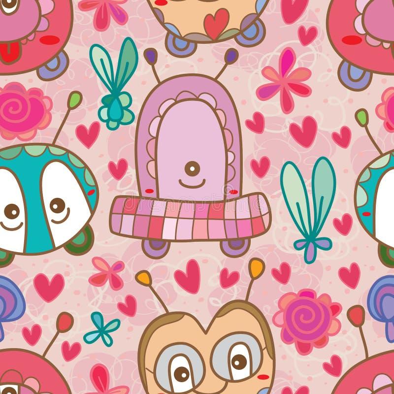 Monster cute fun seamless pattern stock illustration