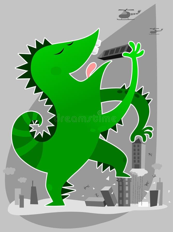 Monster dat gebouwen eet royalty-vrije illustratie