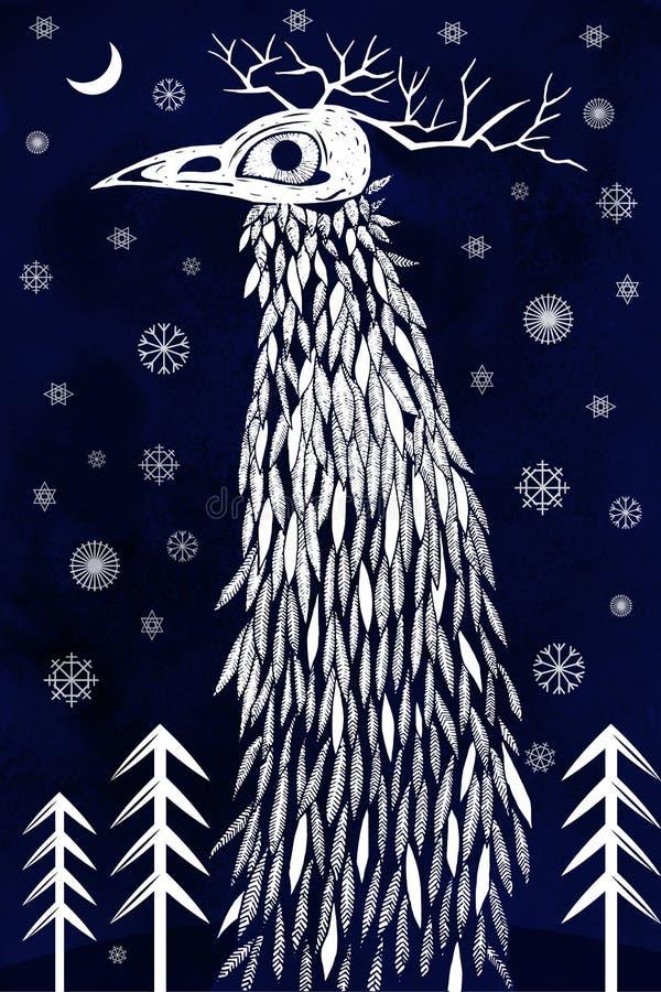 Monster in de winterbos vector illustratie
