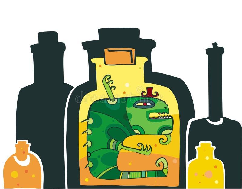 Monster in der Flasche lizenzfreie abbildung
