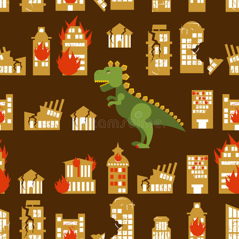 Monster destroys city. Street and House broken. Godzilla in seam royalty free illustration