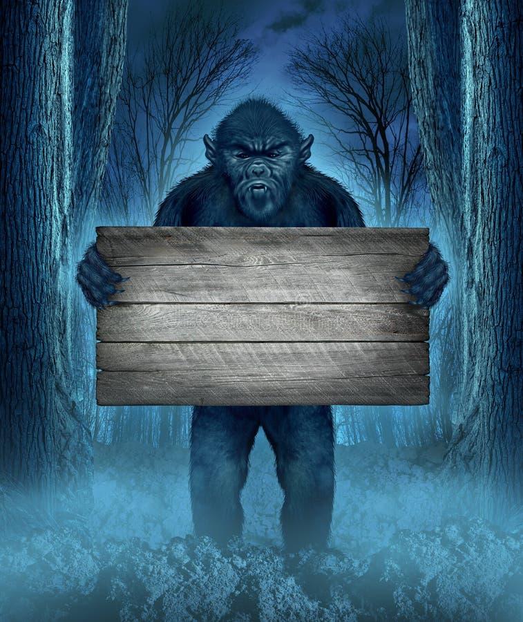 Monster die een Teken houden stock illustratie