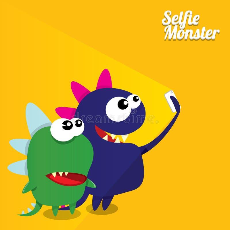 Monster die Selfie-Foto op Slimme Telefoon nemen vector illustratie