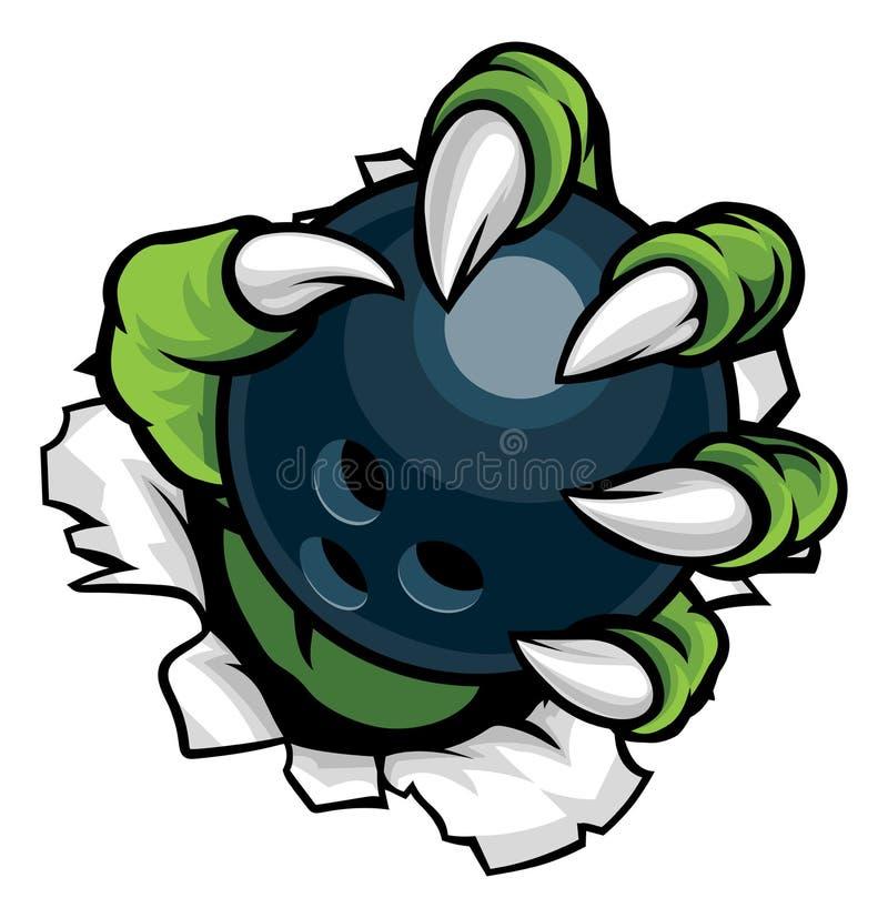 Monster dierlijke klauw die Tien Pin Bowling Ball houden stock illustratie