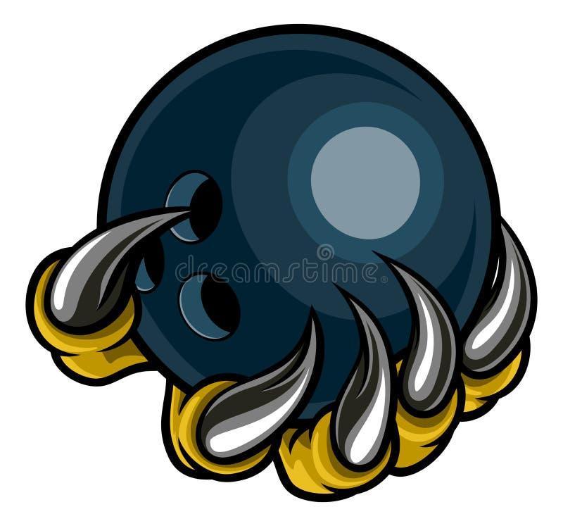 Monster dierlijke klauw die Tien Pin Bowling Ball houden royalty-vrije illustratie