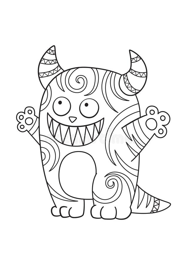 Monster doodle coloring book page stock illustration