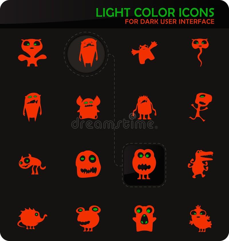 Monster icons set. Monster easy color vector icons on dark background for user interface design stock illustration