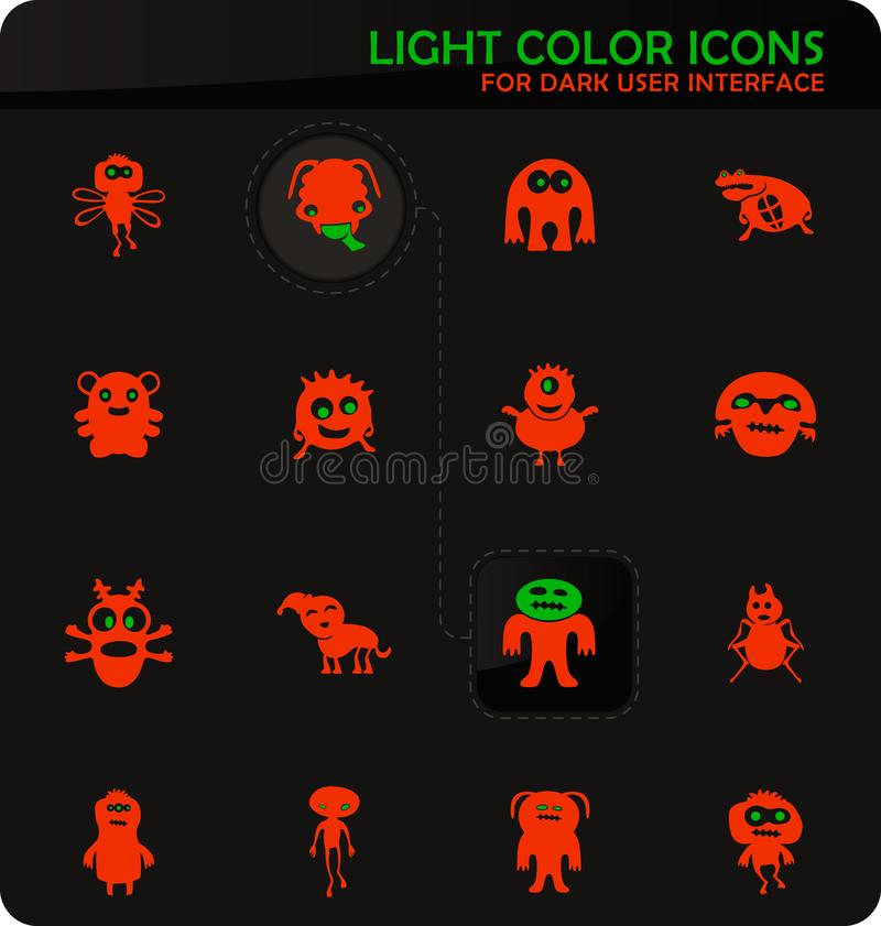 Monster icons set. Monster easy color vector icons on dark background for user interface design royalty free illustration