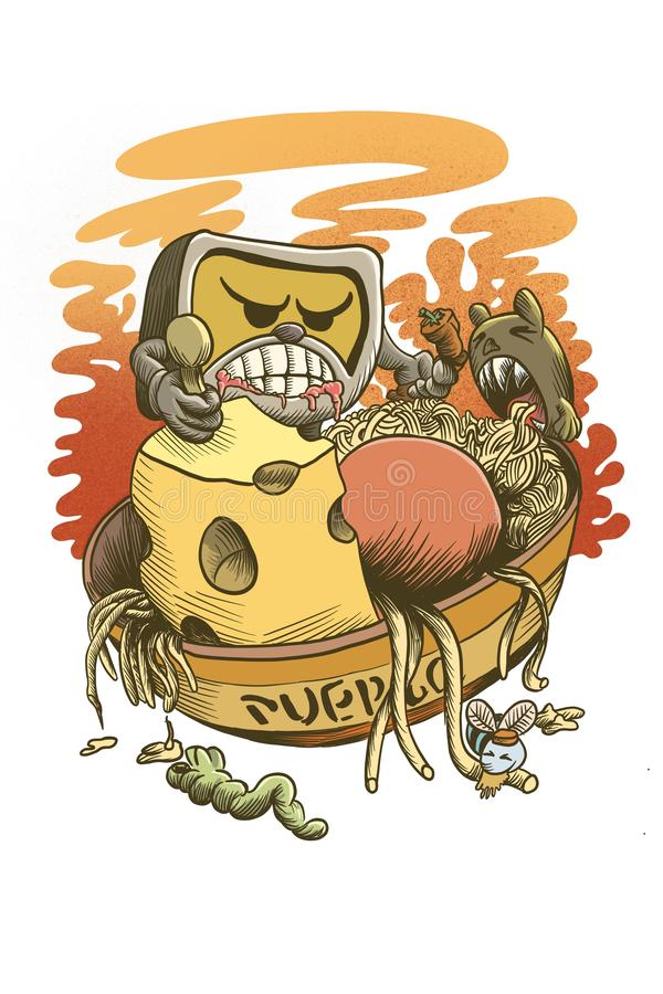 The monster eaters illustration. Puerco the monster eaters illustration. Original Cartoon characters created by Stephen Ignacio of little creatures rampaging stock illustration