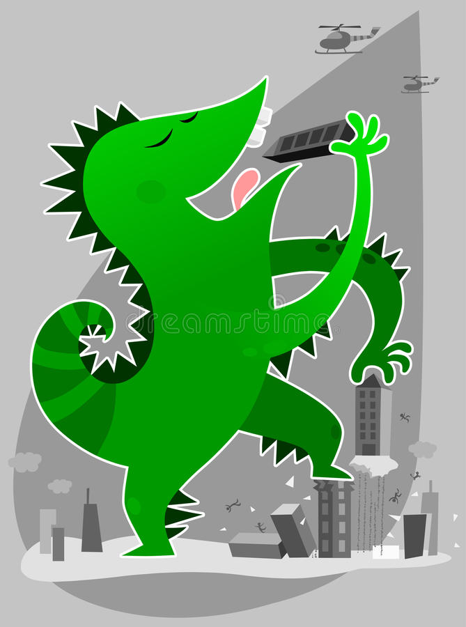 Download Monster eating buildings stock vector. Illustration of hungry - 23221629