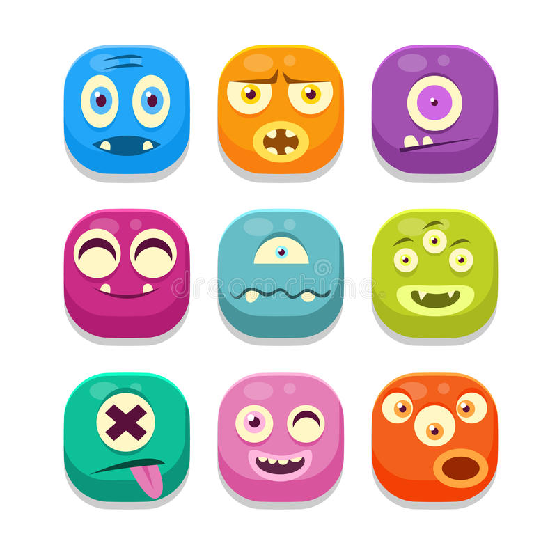 Monster Emoji Icons Set. Monster Emoji Colorful Bright Childish Cartoon Style Icons Set For Smartphone Flat Vector Design Isolated On White Background royalty free illustration