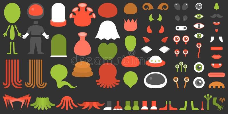Monster en vreemde verwezenlijkingsuitrusting vector illustratie