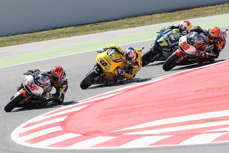 Monster-Energie Grandprix von Catalunya MotoGP Treiber Mika Kallio, Außenseiter Viñales Moto2 stockfotografie
