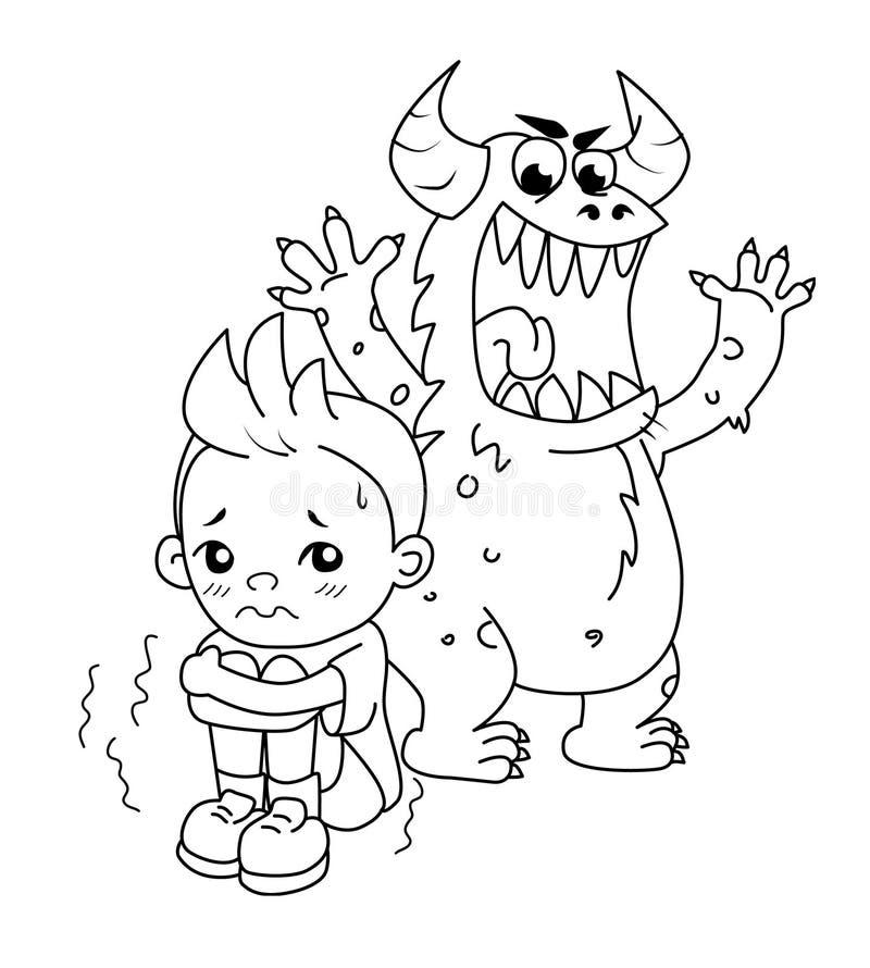 Monster erschrickt das Kind, das hinten staing ist stockfotos