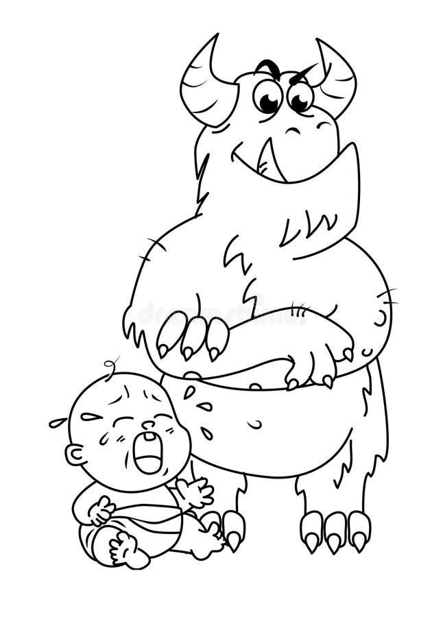 Monster erschrickt das Kind, das hinten staing ist lizenzfreie stockfotos