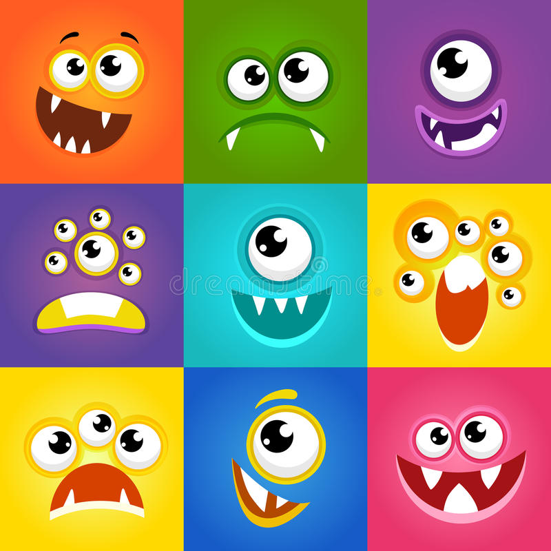 Monster expressions. Funny cartoon faces vector royalty free illustration