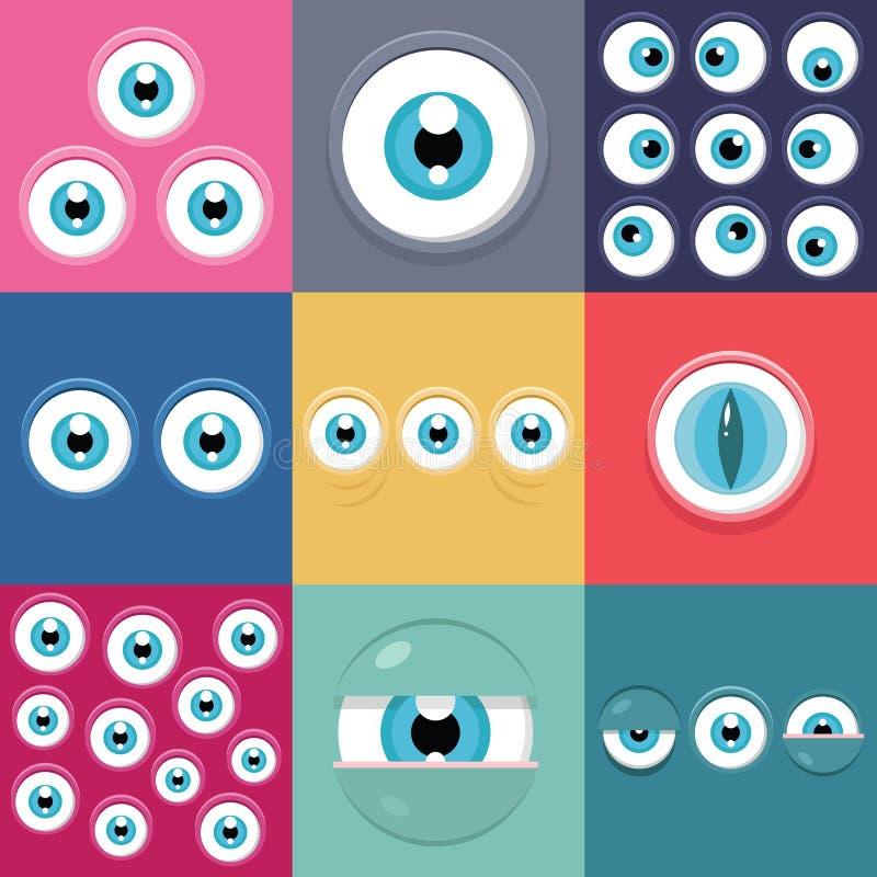 Monster eyes. Vector set of funny cartoon monster eyes stock illustration