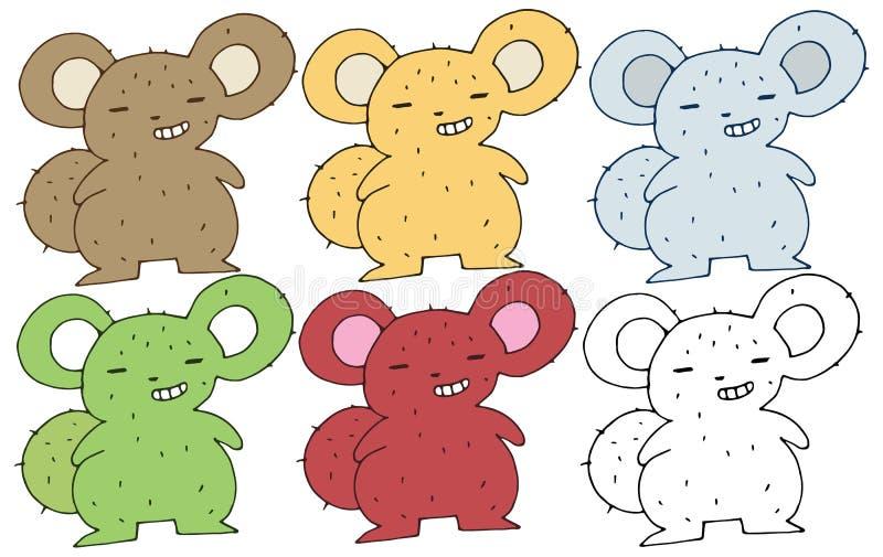 Monster för attraktion för hand för uppsättning för färg för klotter för tryckekorretecknad film lyckligt roligt stock illustrationer