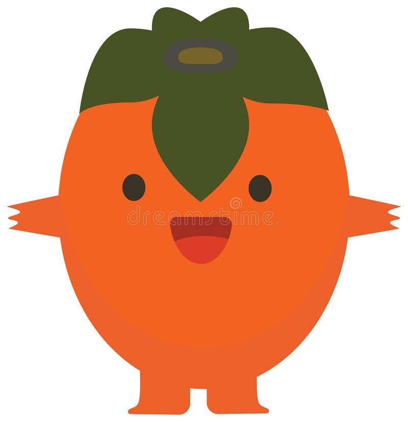 Monster för plan persimon för citrusfrukt för uppsättning för färg för sommar för trycktecknad filmklotter lyckligt vektor illustrationer