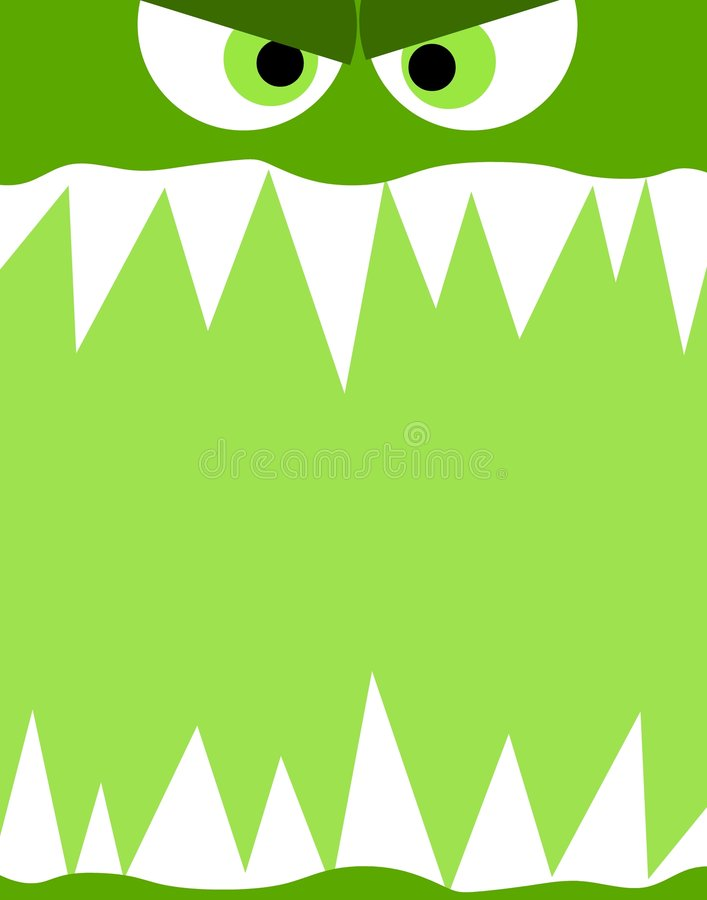 Monster Face Background. A background featuring a green monster face with evil eyes and white sharp teeth
