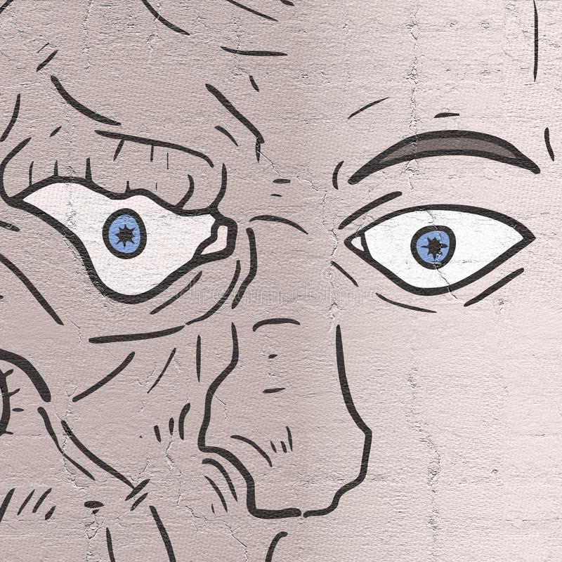 Monster face man royalty free illustration