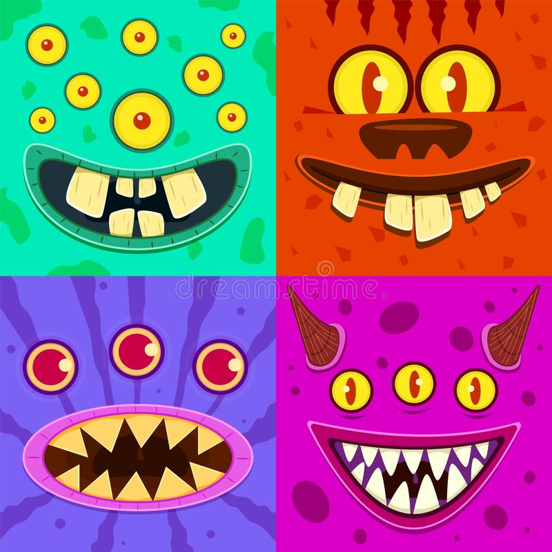 Monster faces. Cute horned crazy goblin and slimy gremlin, scary aliens. Halloween funny trolls, zombie head cartoon royalty free illustration