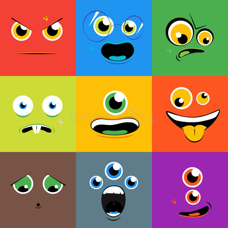 Monster faces vector icons set in flat style. Monster faces icons set in flat style. Cartoon eye character, person with tongue, creature mutant, vector vector illustration