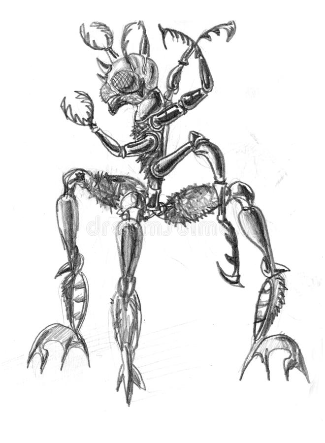 Monster. Fantastic Insect monster. Pencil drawing stock illustration