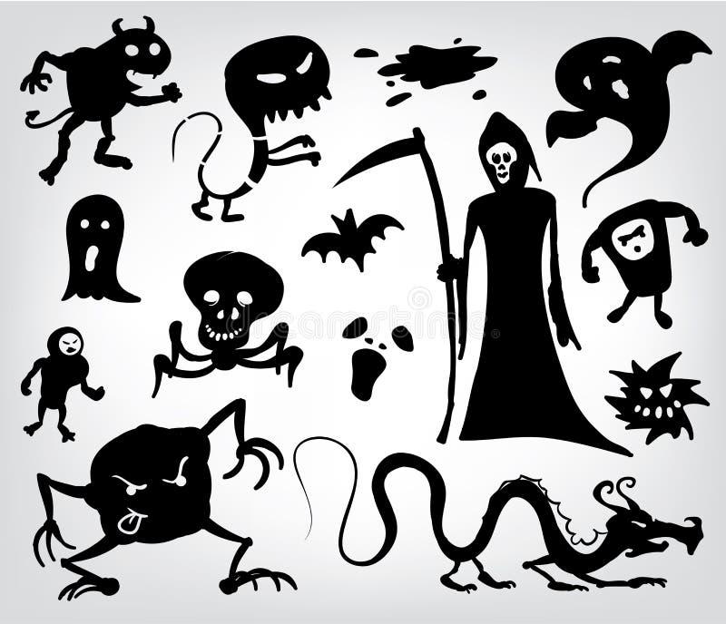 Monster, Geister und der grimmige Reaper lizenzfreie abbildung