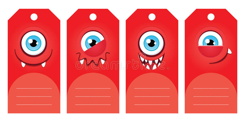 Monster gift tags. Gift tags with funny cartoon monsters. Some blank space for your text included stock illustration