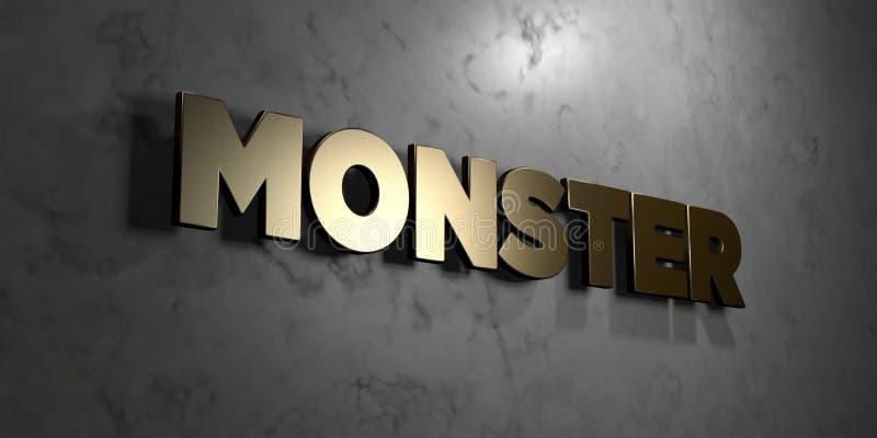 Monster - Gouden teken opgezet op glanzende marmeren muur - 3D teruggegeven royalty vrije voorraadillustratie stock illustratie