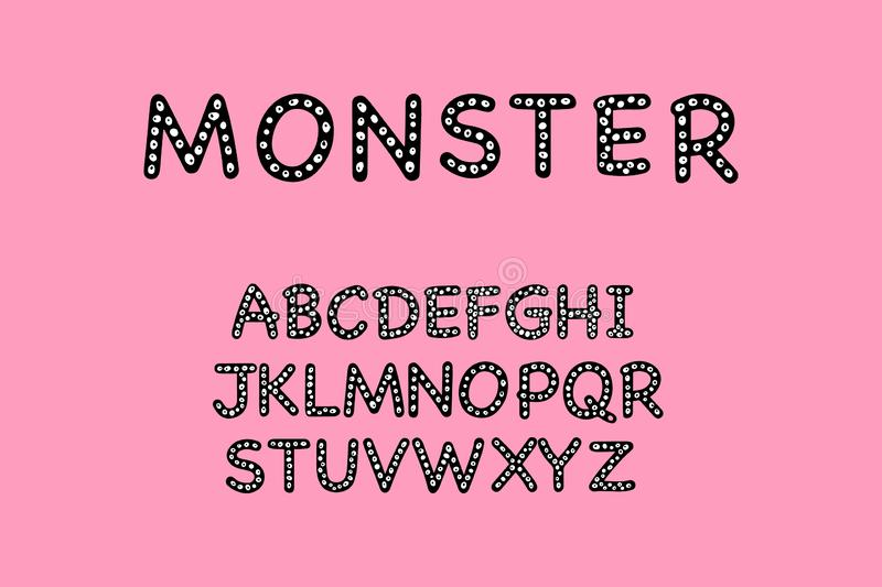 Monster hand drawn font black with eyes on purple background royalty free illustration