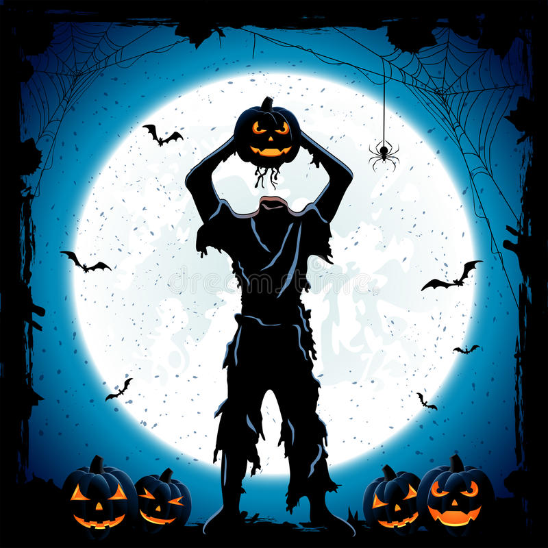 Monster with head of Halloween pumpkin on blue night background royalty free illustration