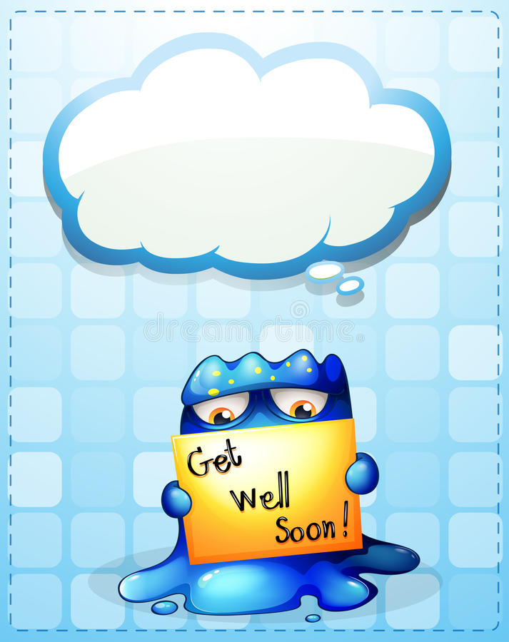 A monster holding a get-well-soon card with an empty callout vector illustration