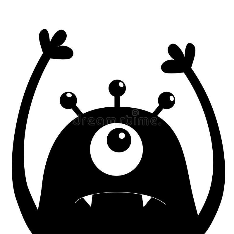 Monster hoofdsilhouet Één oog, tanden, hoektand, handen omhoog Zwart Grappig Leuk beeldverhaalkarakter Babyinzameling De gelukkig vector illustratie