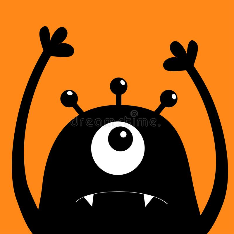Monster hoofdsilhouet Één oog, tanden, hoektand, handen omhoog Zwart Grappig Leuk beeldverhaalkarakter Babyinzameling De gelukkig royalty-vrije illustratie