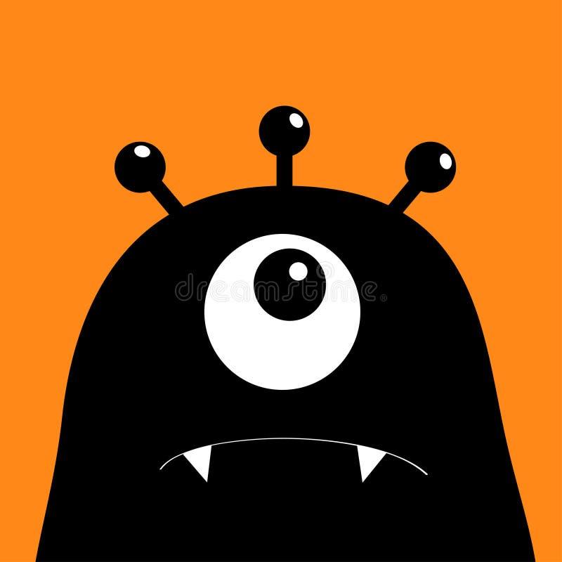 Monster hoofdsilhouet Één oog, tanden, hoektand Zwart Grappig Leuk beeldverhaalkarakter Babyinzameling De gelukkige kaart van Hal royalty-vrije illustratie