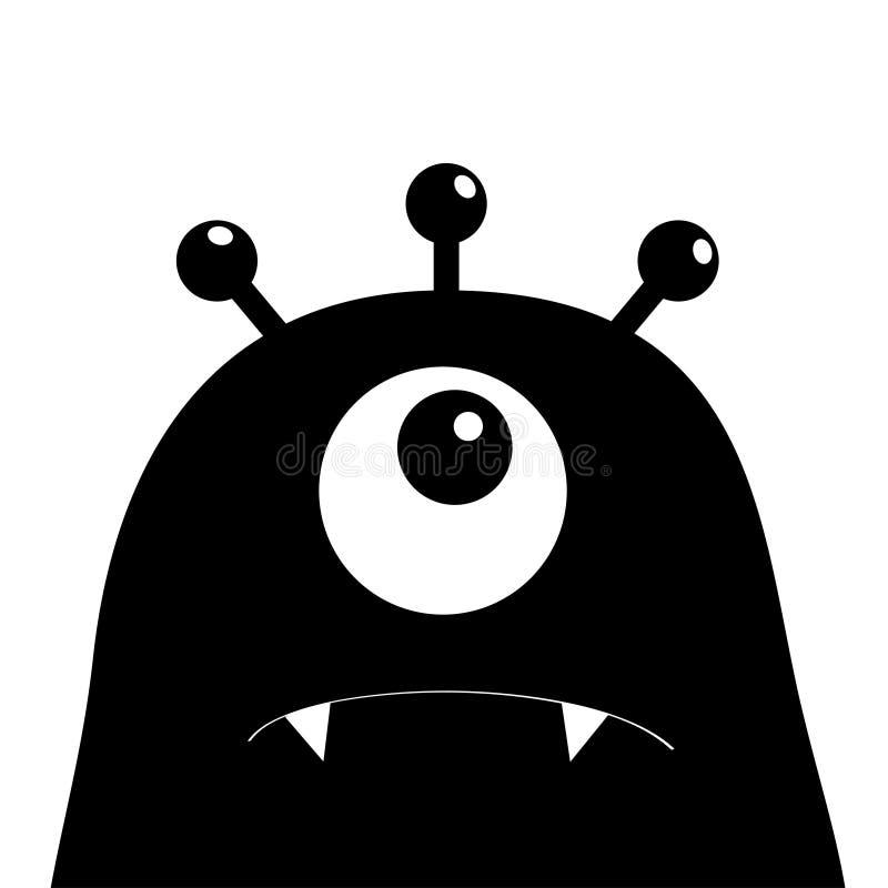 Monster hoofdsilhouet Één oog, tanden, hoektand Zwart Grappig Leuk beeldverhaalkarakter Babyinzameling De gelukkige kaart van Hal vector illustratie