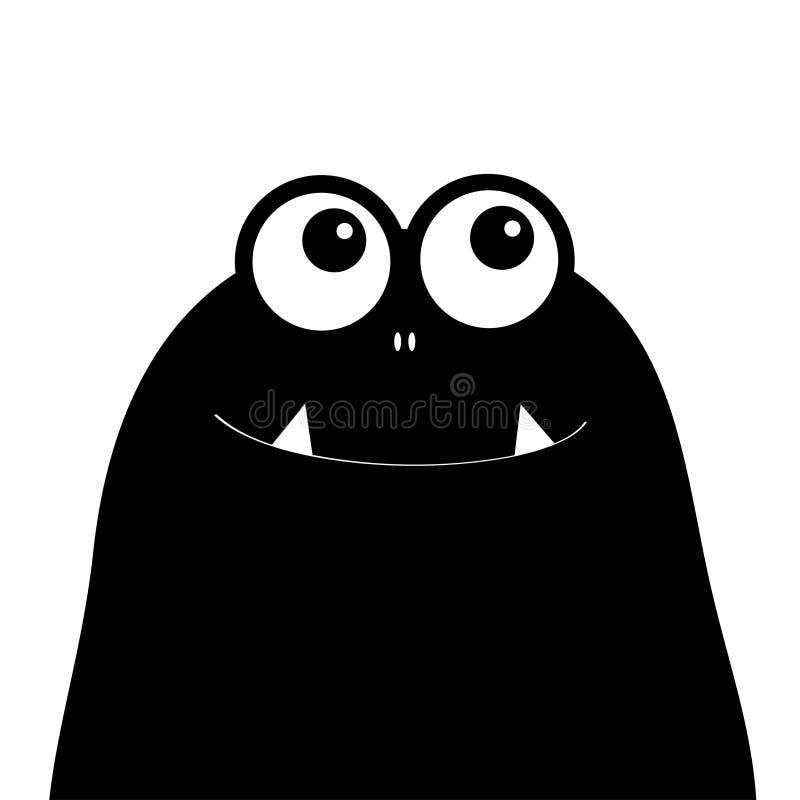 Monster hoofdsilhouet Twee ogen, tanden, hoektand Zwart Grappig Leuk beeldverhaalkarakter De gelukkige kaart van Halloween Babyin vector illustratie