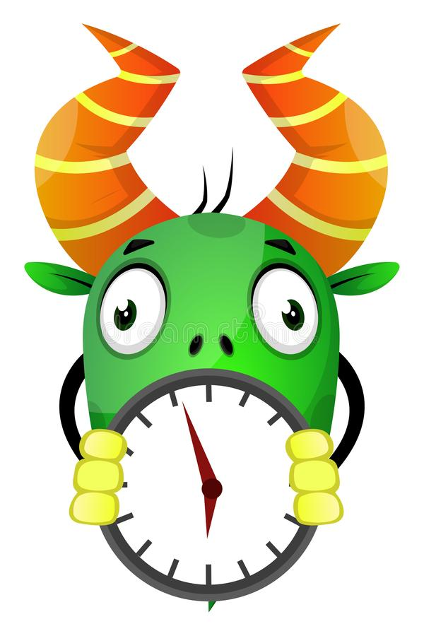 The monster with horn holding a wall clock, illustration, vector stock illustration