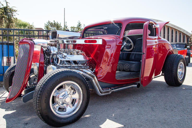 Monster Horsepower Red Hot Rod. Red Hot Rod with extreme Horsepower royalty free stock photos