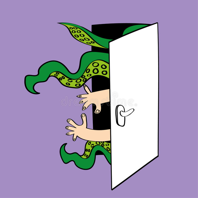 Monster i källaren stock illustrationer