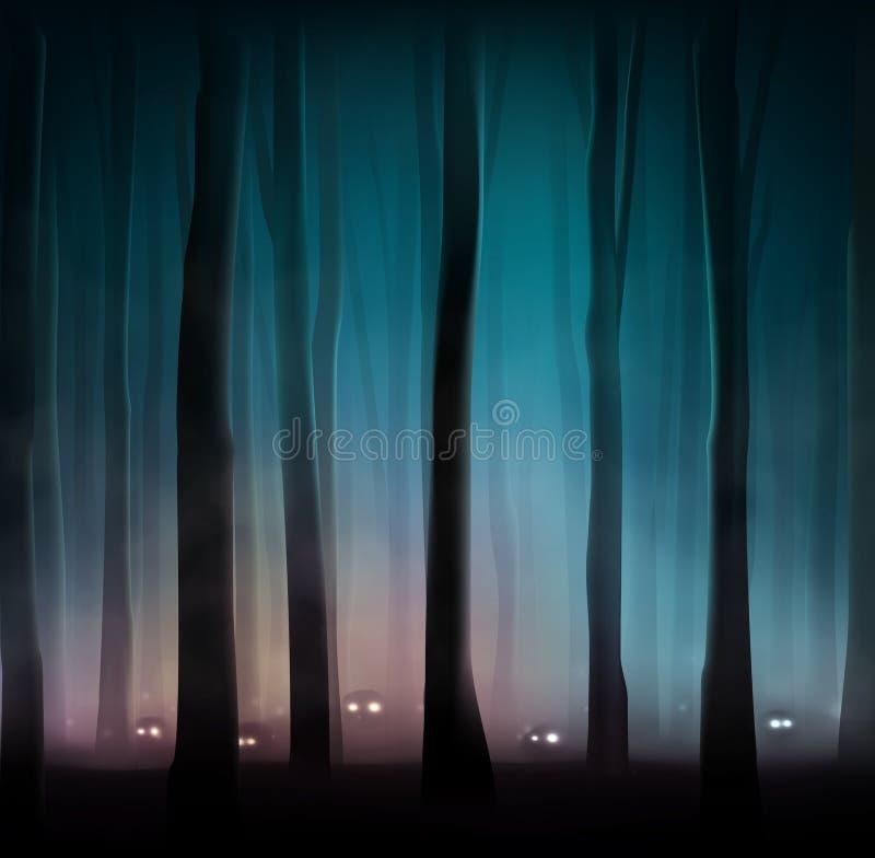Monster i skog stock illustrationer