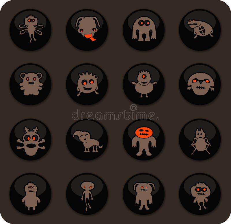 Monster icons set. Monster color vector icons on dark background for user interface design stock illustration