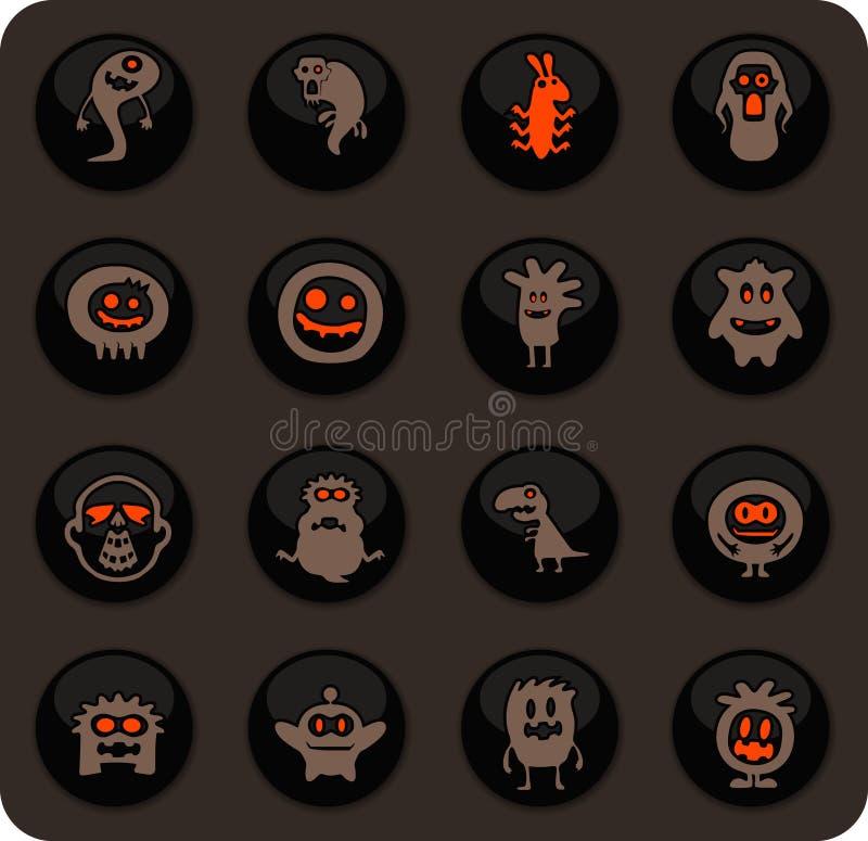 Monster icons set. Monster color vector icons on dark background for user interface design vector illustration