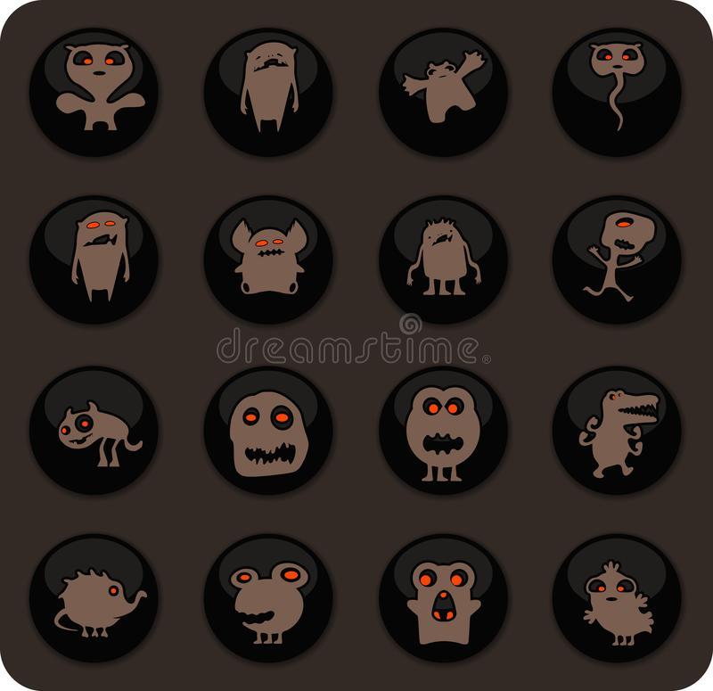 Monster icons set. Monster color vector icons on dark background for user interface design royalty free illustration