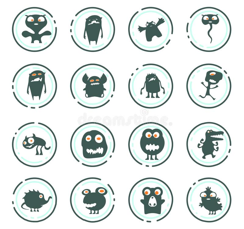 Monster icons set. Monster color vector icons for user interface design vector illustration
