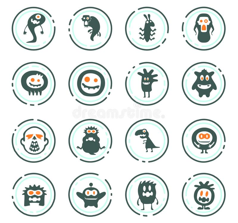 Monster icons set. Monster color vector icons for user interface design royalty free illustration